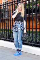 blue jelly shoes Ju Ju shoes - blue boyfriend jeans asos jeans
