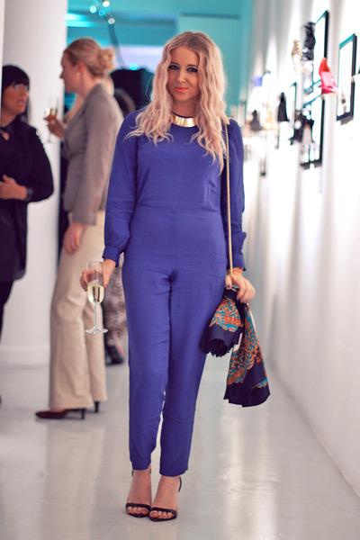 blue jumpsuit asos bodysuit - black court shoes Zara shoes