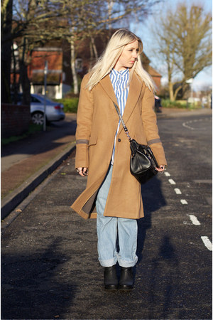 light brown knee length asos jacket - black boots asos shoes