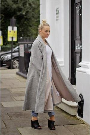 heather gray asos jacket - black mules new look heels