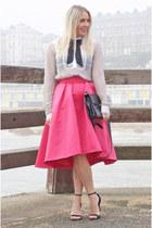 hot pink Coast skirt - white asos shirt - black Gucci bag - black Zara sandals
