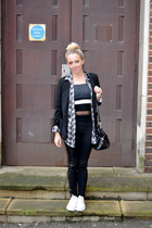 black leggings H&M leggings - black blazer new look blazer