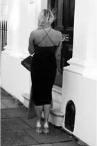 black midi RARE dress - black Celine bag - nude courts Daniel Footwear heels