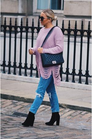 black chanel boy bag Chanel bag - blue asos jeans - violet Missguided jumper
