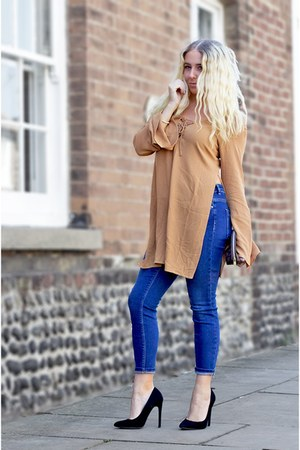burnt orange asos top - blue asos jeans - black Missguided heels