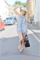 blue playsuit warehouse dress - black shopper Zara bag