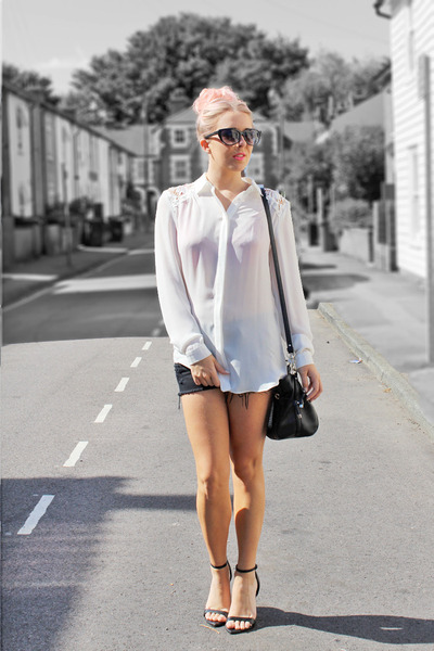 black Guess bag - white sheer shirt warehouse shirt - black chicnova shorts