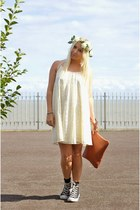 black converse Converse sneakers - cream swing lace asos dress