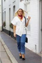 white wrap top asos top - navy denim asos jeans - black pointed flats dune flats