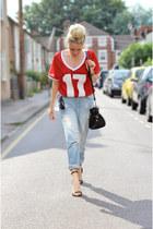 red Topshop top - blue boyfriend jeans asos jeans