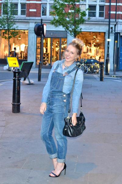 blue dungarees Topshop jeans - blue denim shirt H&M shirt