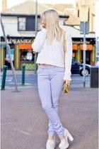 violet skinny Topshop jeans - mustard Carvella bag