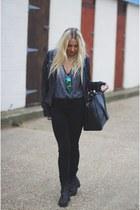 black skinny All Saints jeans - navy zeroUV sunglasses - heather gray asos vest