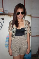 vintage shorts - Ray Ban sunglasses - mesh bought online top - wacoal intimate