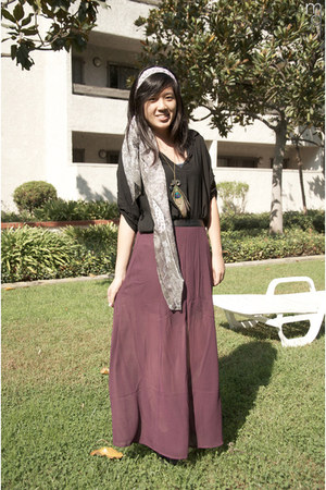 black tie up brandy melville shirt - puce maxi skirt Forever 21 skirt