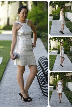 silver halter Jessica McClintock dress