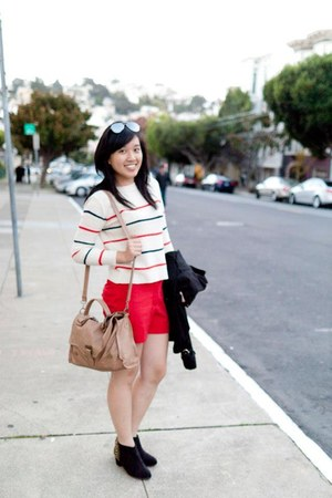 white striped Forever 21 sweater - ruby red Forever 21 shorts