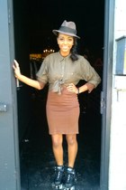 brown dress - black rollerskates shoes - light brown hat - dark khaki blouse