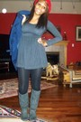 Gray-swap-meet-boots-blue-coat-black-target-tights-red-hat-gray-forever-