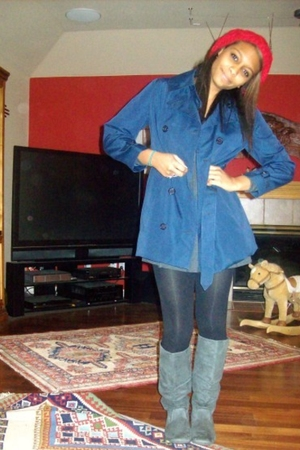 gray Swap Meet boots - blue coat - black Target tights - red hat - gray Forever 