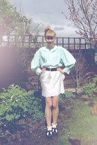 satin DIY skirt - Topshop socks - silk vintage blouse - Topshop flats