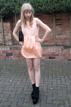 peach handmade Bobbie and Lola dress - black vintage bag