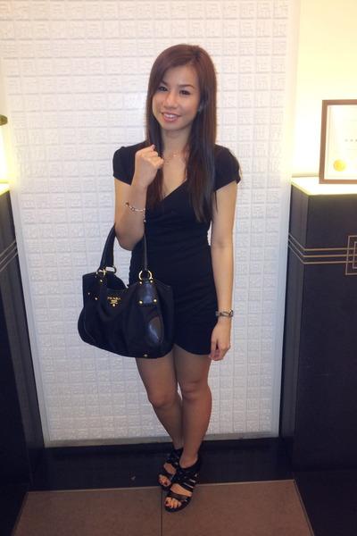 black dress - black Prada bag - black heels