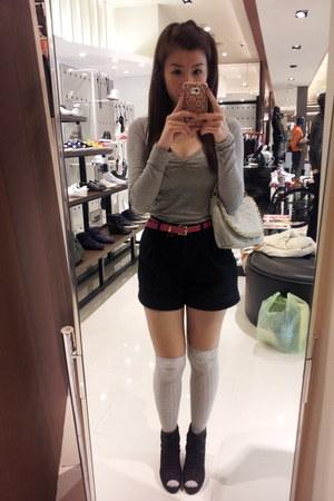 silver hearts bag - black boots - black shorts - silver knee high socks socks