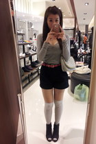 silver hearts bag - black boots - black shorts - silver knee high socks socks