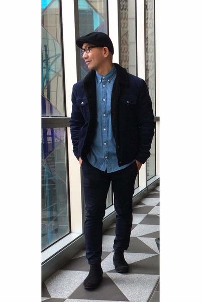 black H&M shoes - navy fur wrengler jacket - sky blue H&M shirt - navy H&M pants
