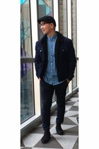 black H&M shoes - navy fur wrengler jacket - sky blue H&M shirt - navy H&M pants