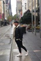 white Zara shoes - black fur Topman jacket - black Topman pants