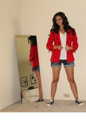 red Express blazer - Express shirt - Random denim shorts shorts - H&M earrings