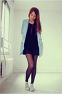 Black-laces-causewaymall-dress-periwinkle-zipia-blazer-black-chicwish-tights