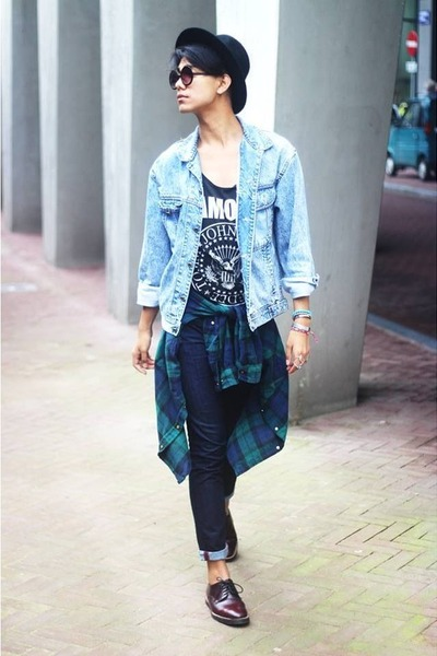 black asos hat - crimson asos shoes - blue denim American Apparel jacket