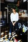 Black-asos-shoes-white-h-m-shirt-teal-h-m-pants
