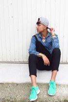 green lovely rosh run nike sneakers - blue denim gold Zara shirt