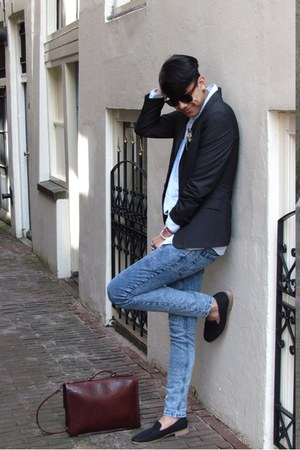 blue Zipper shirt - blue jeans River Island jeans - black Topman blazer
