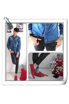 red suede shoes - fold leather Atmosphere jeans - denim Coolcat shirt - ring