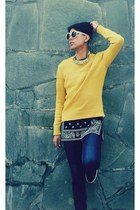 yellow H&M Trend jumper - blue asos jeans - black Ebay t-shirt