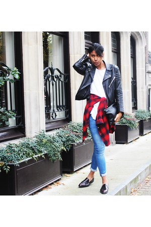 crimson Zara shoes - blue River Island jeans - black H&M Trend jacket