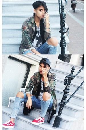 blue asos jeans - green vintage jacket - black Primark blazer