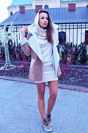 camel faux suede OASAP coat