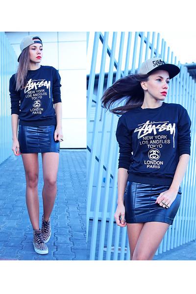 black leather look style moi dress - black style moi sweatshirt