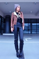 brown shearling biker style moi jacket - black cropped style moi top