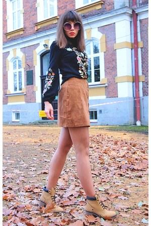 black romwe sweater - brown Rosegal skirt