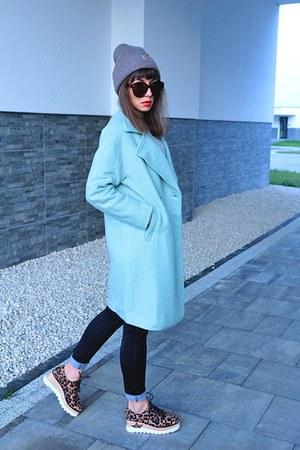 light blue VIPshop coat - tan Carhartt hat