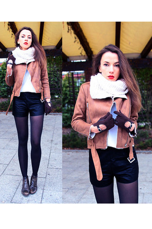 brown biker shearling style moi jacket - black leather look style moi shorts