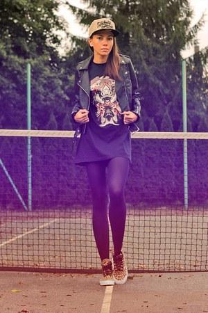 black H&M jacket - dark khaki Crooks & Castles hat - black jordan t-shirt