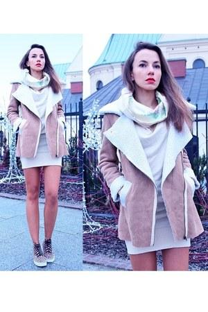 camel shearling coat OASAP coat
